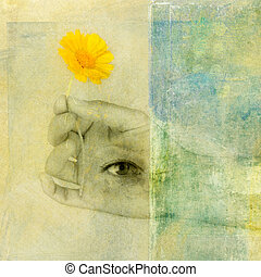 Generosity - Hand with third eye holding a yellow flower.