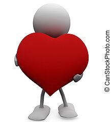 generoso, heart., grande, amore, concepts., uomo, 3d