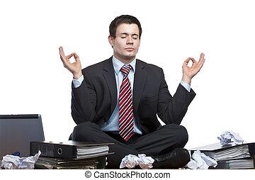 genervt, frustriert, kaufleuten zürich, meditiert, in, buero, schreibtisch