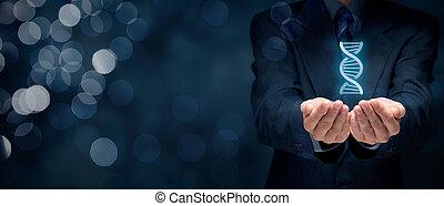 Genes for business - Businessman shows he has genes (talent,...