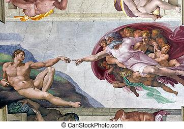 Genesis - ROME, ITALY - MARCH 08: Michelangelo's...