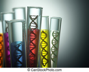 Genetic Code Manipulation - Test tube with dna inside....