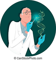 Genetic engineering - A man in a lab coat modifying a DNA...