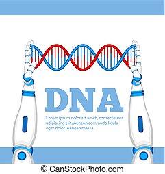 Genetic engineering concept with robot hands