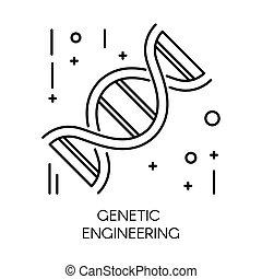 Genetic engineering, DNA molecule isolated outline icon -...