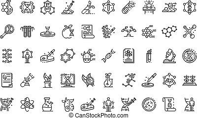 Genetic engineering icons set, outline style - Genetic...