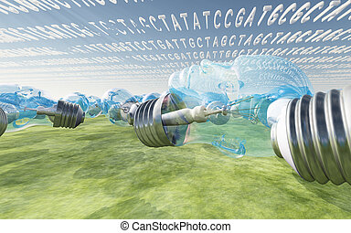 Genetic Fantasy - Genetic code clouds and human shaped light...