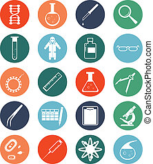 Vector image of set of genetic icons