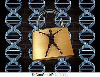 Genetic prison and human engineering of DNA as the biotechnology science concept for unlocking the secrects of the human genome to free humans of disease and inherited illness through scientific research with dna strands as jail bars and a lock shaped as a person.
