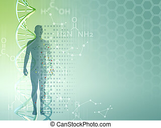 Genetic research background, can be used as a template for medical themed presentations. Digital illustration.