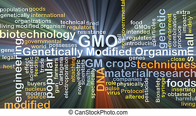 Background concept wordcloud illustration of genetically modified organism GMO glowing light
