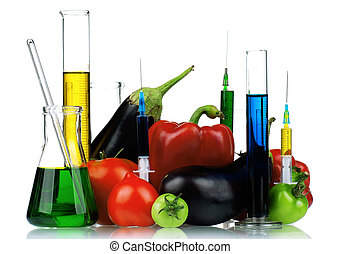 Genetically modified organism - vegetables with syringes and...
