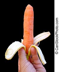 Genetically modified - Carrot inside the banana