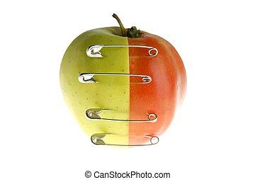 genetico, frutta, manipolazione, con, mela, e, pomodoro