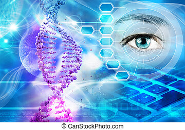 genetics - DNA helix and human eye in abstract blue...
