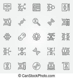 Genetics outline icons set. Vector Genetic Engineering signs...