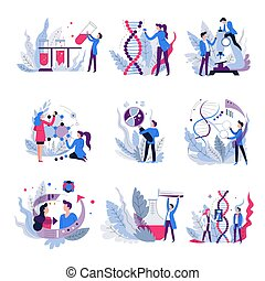Genetics science isolated abstract icons scientists and ...