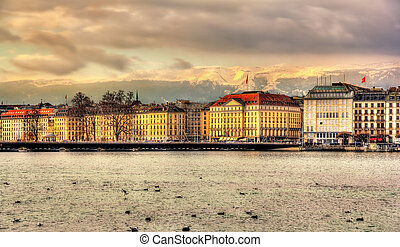 Geneva between lake and mountains - Switzerland