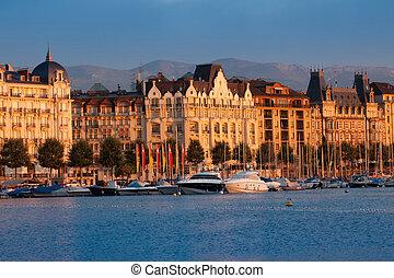Geneva buildings in the morning sun light