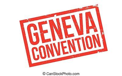 Geneva Convention rubber stamp. Grunge design with dust...