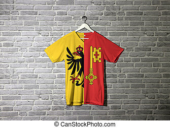 Geneva flag on shirt and hanging on the wall with brick pattern wallpaper.