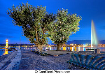 Geneva fountain, Switzerland, HDR - Famous Geneva fountain,...