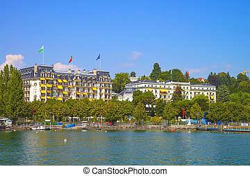 Geneva lake bay harbor view in Lausanne, Switzerland in summer