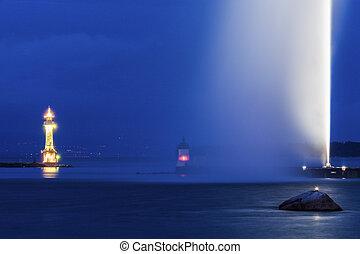 Geneva Lighthouse at night