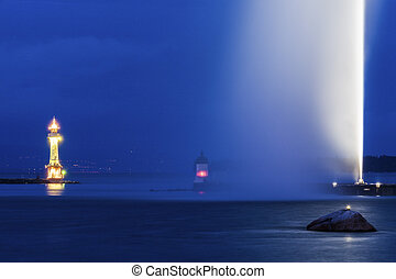 Geneva Lighthouse at night