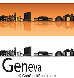 Geneva skyline in orange background in editable vector file