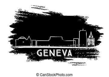 Geneva Skyline Silhouette. Hand Drawn Sketch.
