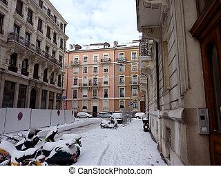 Geneva street in winter