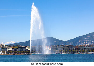 The jet of water the symbol of the city of Geneva in Switzerland