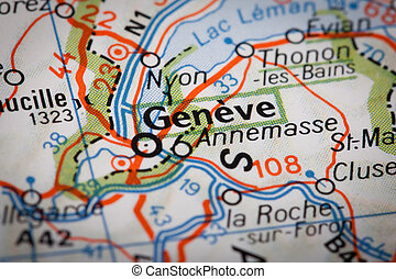 Geneve on a road map