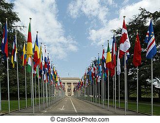 genewa, narody, gmach, geneva--united, zjednoczony, geneva--...