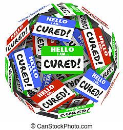 genezen, naam, markeringen, geheelde, beter, gezondheid, behandeling, woorden, hallo