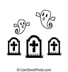 gengångare, flytande, kyrkogård, halloween