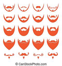 gengibre, barba, com, bigode, ícones