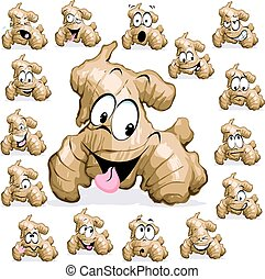 gengibre, caricatura, com, rosto engraçado