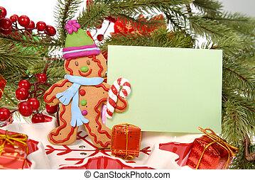 gengibre, pão, biscoito, homem, com, cartão natal