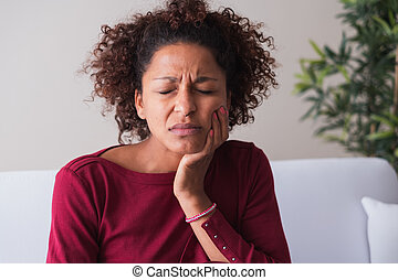 gengivas, sentimento, toothache, mulher, massaging