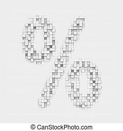 gengivelse, stor procentdel, symbol, afsluttede, i, hvid, firkantet, ujævn, fliser