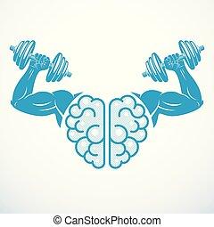 geni, concept., vektor, hjärna, mental, bodybuilder., bicep...