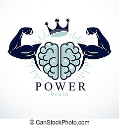 geni, räcker, mental, hjärna, utbildning, mänsklig, bicep, ...