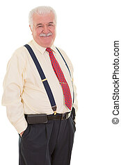 Genial senior businessman in braces