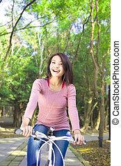genießen, frei, fahrrad, hübsch, zeit, reiten, m�dchen