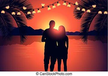 genießen, romantisches, sonnenuntergang, paradies, sandstrand