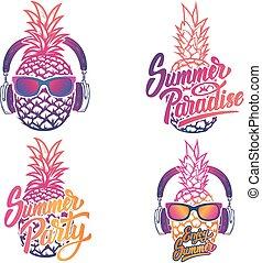 genießen, sommer, sunglases, satz, ananas, emblems., summer.