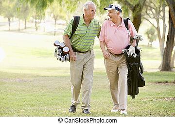 genießen, spiel, mann, golfen, friends