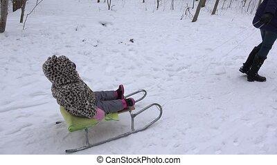 genießen, Winter, Draußen, baby, reiten, schlitten, 4k,...